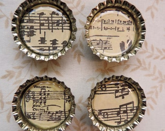 Music Notes, Bottle Cap Magnets, Musical Refrigerator Magnets, Music Lover Gift, Set of 4 Magnets