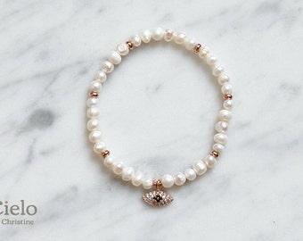 Cream Fresh-water Ugly Pearl Evil Eye Beaded Bracelet