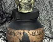 """Up-cycled glass bottle turned creepy Halloween decor!  """"Essence of Death"""" vessel to add to your potion bottle collection."""