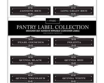 12 Set of Staples Pantry Label Collection - Vintage