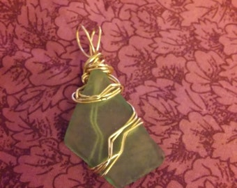 green seaglass with gold wire wrapped pendant