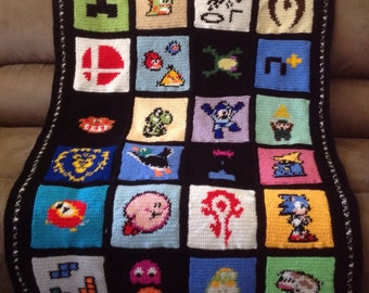 Retro Gamer Handmade Crochet Blanket