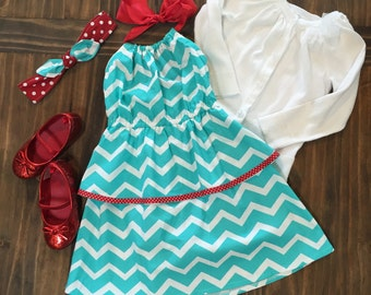 Turquoise and Red Halter Dress.....READY TO SHIP