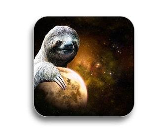 Planet sloth - drink coaster, birthday gift, coaster gift set, meme coaster, housewamring gift 2P002A