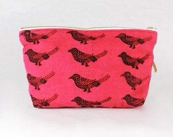 Red Bird Print Cosmetics Bag / Repurposed Bird Print Fabric Zipper Pouch