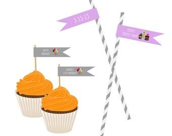 Personalized Birthday Straw Flag Labels / Custom Straw Flag Labels - set of 20 / Personalized Labels for Straws