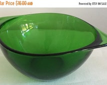 SALE 20% OFF Vereco Serving Bowl Small Square Green Glass c1960