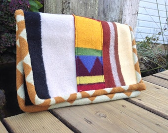 Tribal Print Handmade Wool Clutch