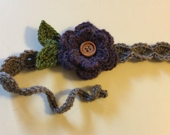 Pretty crochet flower headband