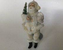 Vintage Santa clause standing figure collectible white suit bottlebrush tree pipe cleaner