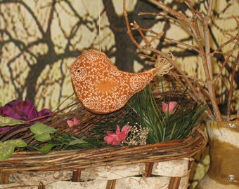 Birds Tree Ornament Country primitive  Golden Hand Sewn