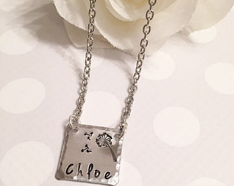 Minimalistic necklace - Name necklace - Hand stamped name plate - Custom necklace - Personalized hand stamped jewelry - Children's necklace