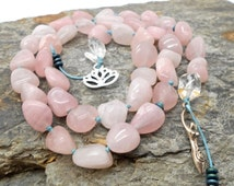 ALOHA SALE.... Rose Quartz Druid's Ladder - Witches Ladder, Pagan Prayer Beads, Wicca, Goddess, Lotus Flower, Love