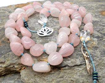 Rose Quartz Druid's Ladder - Witches Ladder, Pagan Prayer Beads, Wicca, Goddess, Lotus Flower, Love