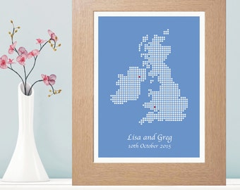 Personalised UK Map Print - Wedding Gift - New House - Housewarming Gift - Map Artwork - Personalised With 2 Locations