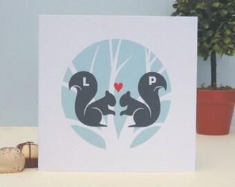 Squirrels In Love Personalised Valentine's Day Card, Wedding, Anniversary Card, Romantic Personalised Keepsake Card