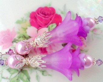Lucite Earrings, Flower Earrings, Victorian Earrings, Hand Painted Earrings, Lavender Earrings, Boho Earrings, Handmade Earrings, For Her