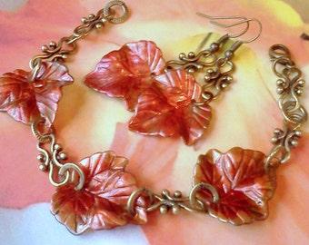 NEW! HandPainted Earrings, HandPainted Bracelet, Leaf Jewelry, Handmade Leaf Jewelry, Autumn Jewelry, Bracelet Earring Set, Jewelry for Fall