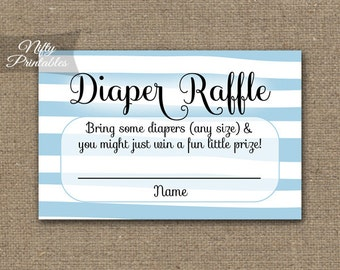 Blue Diaper Raffle Tickets - Blue Baby Shower Game - Printable Blue White Stripe Raffle Tickets - Boy Baby Diaper Shower - DSB