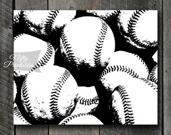 Baseball Print - INSTANT DOWNLOAD Baseball Art - Baseball Poster - Baseball Gifts - Black White Baseball Wall Art Decor - Sports Print SART