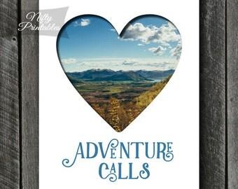 Adventure Art - INSTANT DOWNLOAD Adventure Print - Adventure Calls Poster - Adventure Gifts - Nature Wall Art - Adventure Awaits Decor