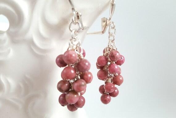 Rhodonite Earrings - Pink Gemstone Cluster Earrings - Gypsy - Boho - Pink Dangle Earrings - Beaded Earrings - Natural Stone