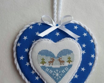 Finished cross stitch ornament, Christmas ornament, blue heart, winter heart, door or wall hanger