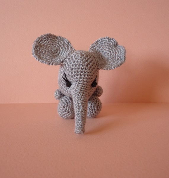 Amigurumi knit little elephant baby toy. Home decor animals.