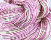 Hand dyed sock yarn fingering 4ply superwash merino bamboo silk Apple Blossom pink lime green 100g
