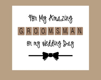 Groomsman Card, Groomsman Thank You Card, Wedding Card, Bridal Party Card, Groomsmen Card, Groomsman Gift, Rustic Wedding Party Card