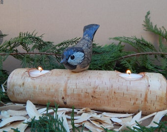 Wood Carved Chickadee On White Birch Log Candle Holder