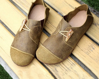 Large Size Handmade Shoes,Oxford Women Shoes, Flat Shoes, Retro Leather Shoes, Casual Shoes