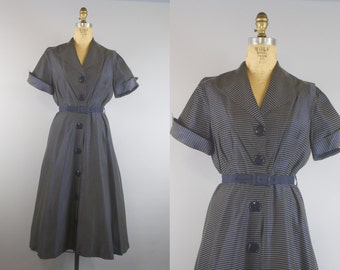 Sailor Stripe Dress / 50s Navy Blue Dress / 1950s Dress