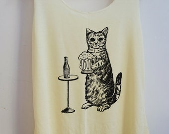 CLEARANCE Cat Love Beer Shirt -- Cat Shirt Cat T-Shirt Animal Shirt Women Shirt Tank Top Women Tunic Top Vest Sleeveless Size S,M,L