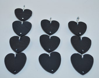 10 Black Painted Wooden Hearts & S Hooks