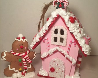 Pink and red candy land ornament.