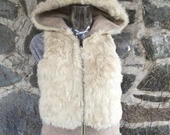 White Rabbit Fur Reversible Vest