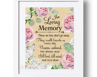 In loving memory printable memorial table wedding memorial for In loving memory free printable