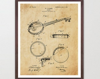 Banjo Patent - Banjo Poster - Music Patent - Banjo Art - Banjo Wall Art - Musician - Boys Room - Bluegrass Art - Country Music Art Bela