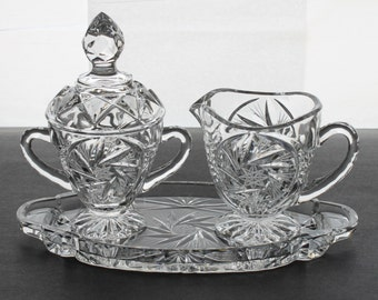 Vintage American Brilliant Period Crystal Footed Cream & Sugar Set w/Underplate MINT