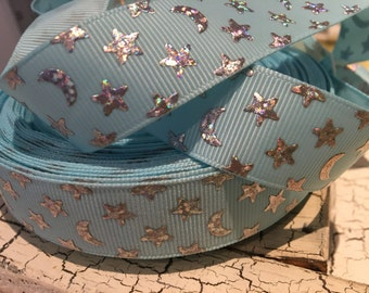 "3 Yards Starry Night 7/8"" Metallic Silver Moon and Star on Blue Baby Grosgrain"