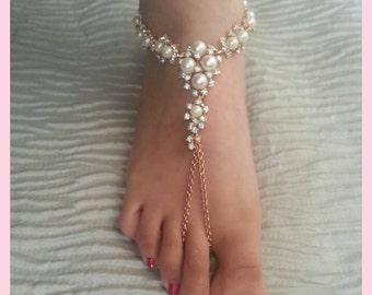 Gold bridal beach wedding barefoot sandals with pearsl and crystals. Pair.
