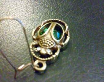 Earrings, Brass Scarabs with Green Sets