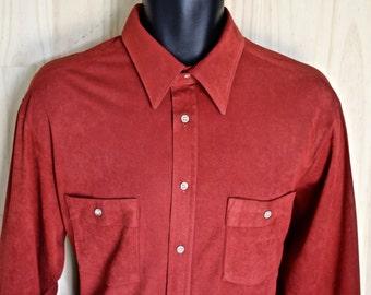Men's UltraSuede Dress Shirt/ Vintage Ultra Suede Shirt/ Sibley's Men's/ Red Brown Dress Shirt/ 1970s Dress Shirt