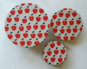 Reusable Bowl Cover Set, Red Apples, Apples Kitchen, Ecofriendly Dish Cover, Food Storage, Picnic Set, Teacher gifts, Red White & Blue