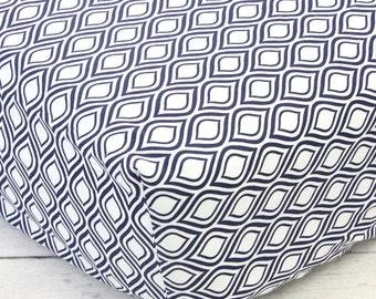 Navy & White Teardrop Crib Sheet