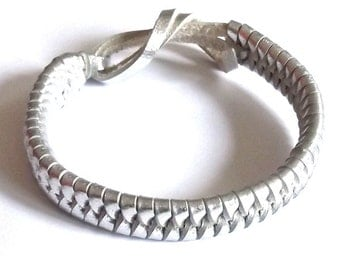 Silver real leather tie on plaited woven wristband strap band friendship bracelet