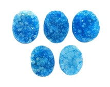 Druzy Bead Teal Petite Oval Shaped Top Side Drilled Bead - (RK63B13-04)