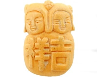 Chinese Carved Bone Top to Bottom Drilled Bead -- (RK60B16-01)