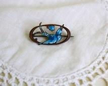 Antique Victorian Brass Enamel Blue Swallow Bird Pin